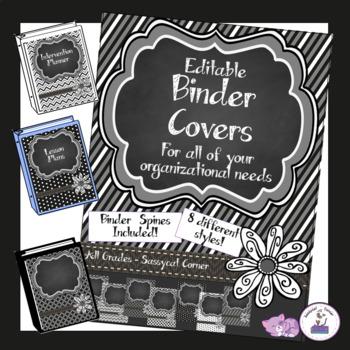 Teacher Binder Covers - Editable - Black Licorice
