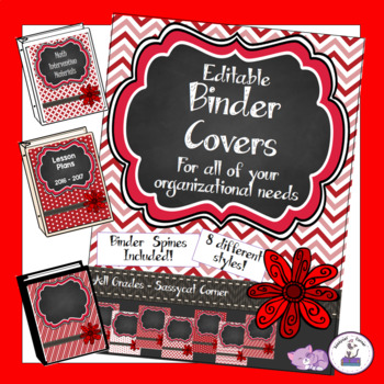 Teacher Binder Covers - Editable - Bright Red