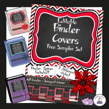 Teacher Binder Covers - Editable - Free Sampler Set