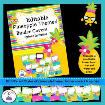 Teacher Binder Covers - Editable - Pineapple Theme