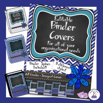 Teacher Binder Covers - Editable - Navy Blue