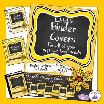 Teacher Binder Covers - Editable - Orange Mango