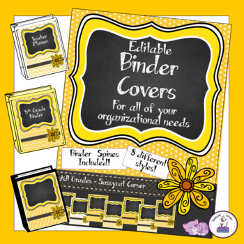 Teacher Binder Covers - Editable - Orange Mango