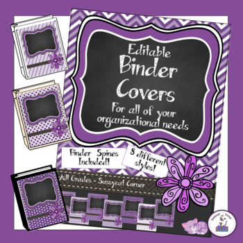 Teacher Binder Covers - Editable - Purple Grape