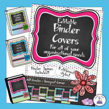 Teacher Binder Covers - Editable - Rainbow