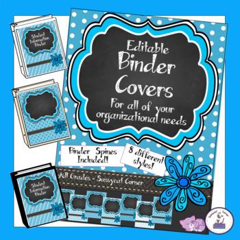 Teacher Binder Covers - Editable - Raindrop Blue