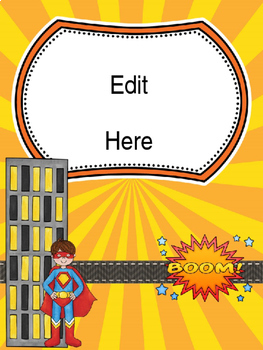 Teacher Binder Covers - Editable - Superhero Theme (Grades 3 - 6)