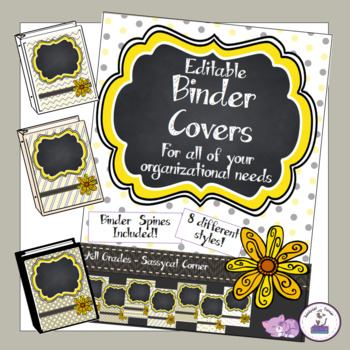 Teacher Binder Covers - Editable - Yellow and Grey