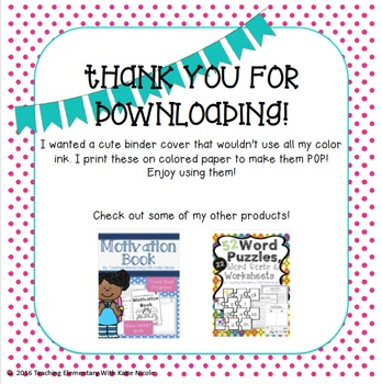 Teacher Binder Covers: Freebie!