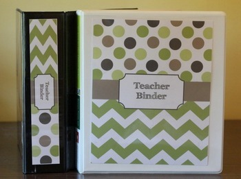 Teacher Binder Covers (Editable): Green and Brown Dots and Chevron Theme