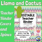 Teacher Binder Covers - Llama and Cactus Chevron EDITABLE