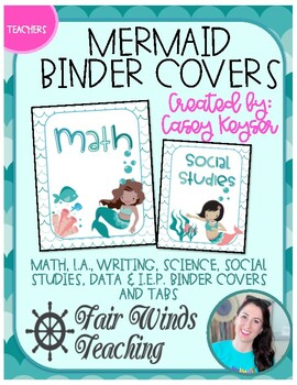 Teacher Binder Covers - Mermaid Theme