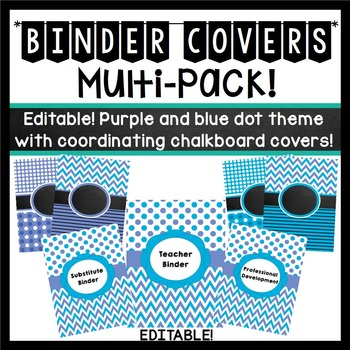 Binder Covers (Editable): Periwinkle and Blue Dots, Chevron Theme