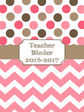 Teacher Binder Covers (Editable): Pink and Brown Dots and Chevron Theme