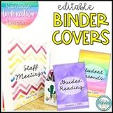 Teacher Binder Covers - Rainbow Watercolor Decor {Editable}