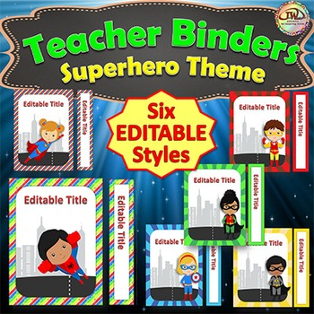 Teacher Binder Covers and Spines - Superhero Themed