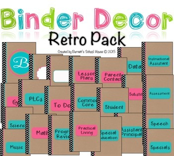 Binder Covers, dividers and Spines EDITABLE {Retro Notebook}