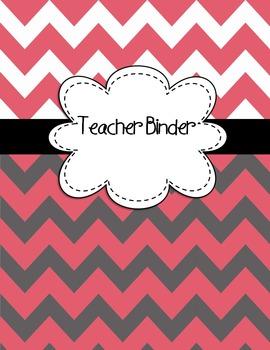 EDITABLE Teacher Binder Covers ANY year Dark Pink & Gray Chevron Back to School