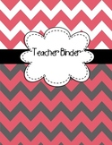 EDITABLE Teacher Binder Covers ANY year Dark Pink & Gray Chevron Back to School