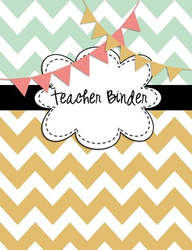 EDITABLE Teacher Binder Covers Any Year Mint Green Chevron Bunting BTS