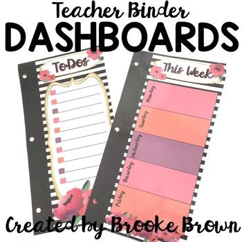 Teacher Binder Dashboards {Watercolor Stripes}