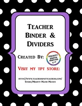 Teacher Binder & Dividers Black Polka Dot with Purple Accent