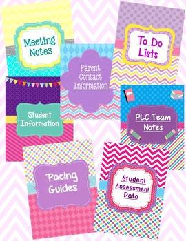 Teacher Binder Dividers-Bright, Fun Designs