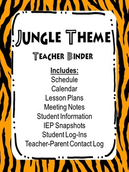 Teacher Binder Dividers Jungle Theme