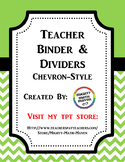 Teacher Binder & Dividers - Lime Green Chevron