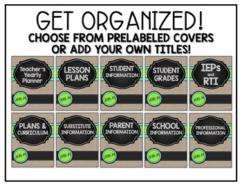 Teacher Binder: EDITABLE Planner - Chalkboard & Burlap - Free Updates for Life!