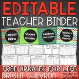 Teacher Binder: EDITABLE Chalkboard & Chevron Planner - Free Updates for Life!