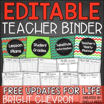Teacher Planner 2018-2019 EDITABLE Teacher Binder FREE Updates for LIFE!