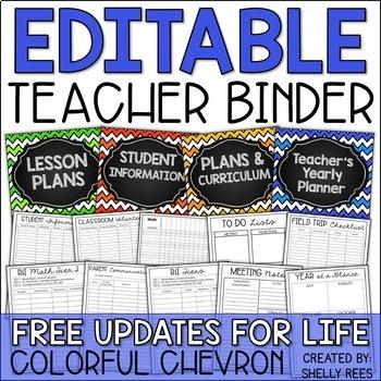 teacher planner 2018 2019 editable teacher binder free updates for life