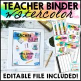 Teacher Binder Editable 2019 - 2020 Watercolor Teacher Planner