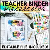 Teacher Binder Editable 2018 - 2019 Watercolor