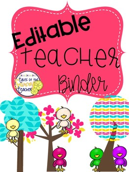 Teacher Binder Editable: Bird Theme