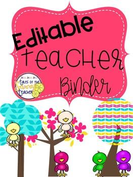 Teacher Binder Editable: Bird Theme