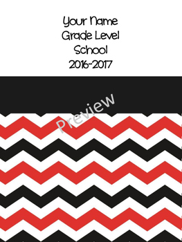 Teacher Binder - Editable Black/Red Chevron Yearly Grade-book and Plan Book