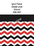 Teacher Binder - Editable Black/Red Chevron Yearly Grade-b