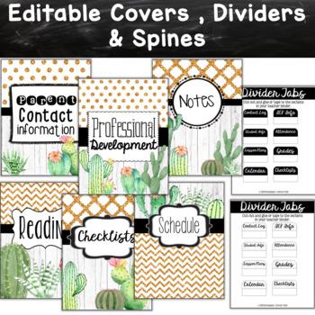 Teacher Binder- Cactus Theme
