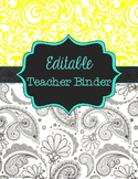 Teacher Binder Editable, Lesson Plan Book, Calendar, Gradebook and More