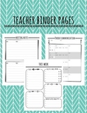 Teacher Binder Pages