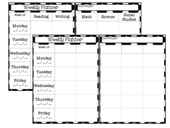 Teacher Binder: Forms and Calendars (B&W Bundle)