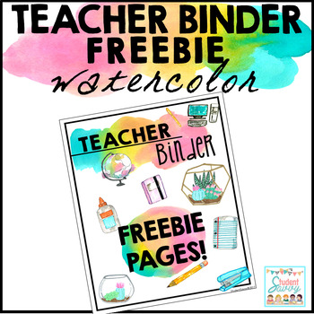 Teacher Binder Freebie Watercolor