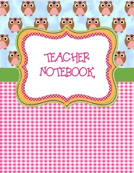 Teacher Binder Gingham Owl Themed