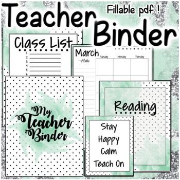 Teacher Binder Green Polka Dot Set Planner Organizer