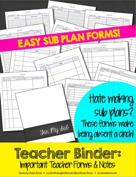 Editable Teacher Binder Important Forms, Sub Plans, & Notes