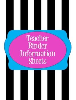 Teacher Binder Information Sheets