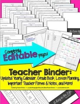 Teacher Binder Bundle Editable & Updated for Life