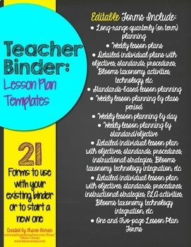 Editable Teacher Binder Lesson Plan Templates By Tracee Orman TpT - Technology integration lesson plan template